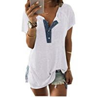 NPSJYQ Camiseta De Manga Corta para Mujer Blusa Casual Abotonada con Abertura Alta Camisetas Sin Mangas Camisa Elegante…