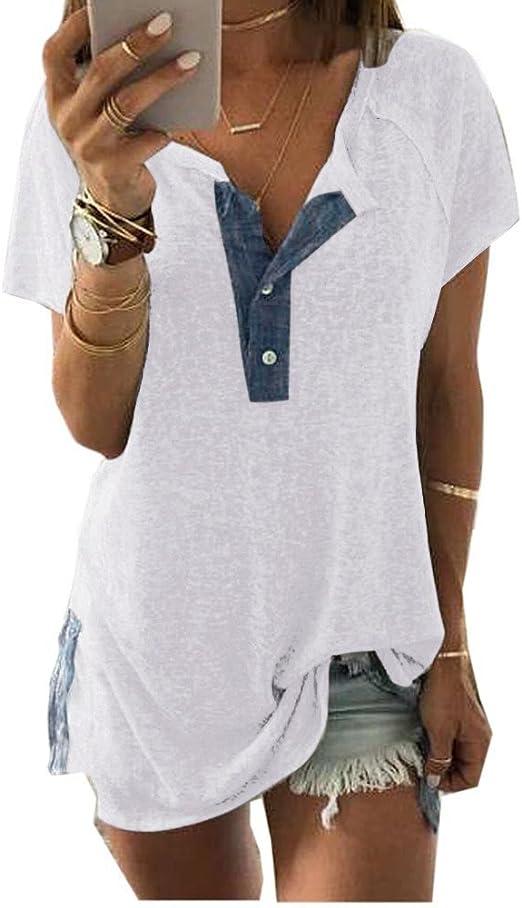 Camisetas de Manga Corta Mujer SUNNSEAN Suelta Sólido Casual Cuello en V con Botón Informal Blusa Camiseta Tank Tops Blusas de Verano Camisas: Amazon.es: Ropa y accesorios