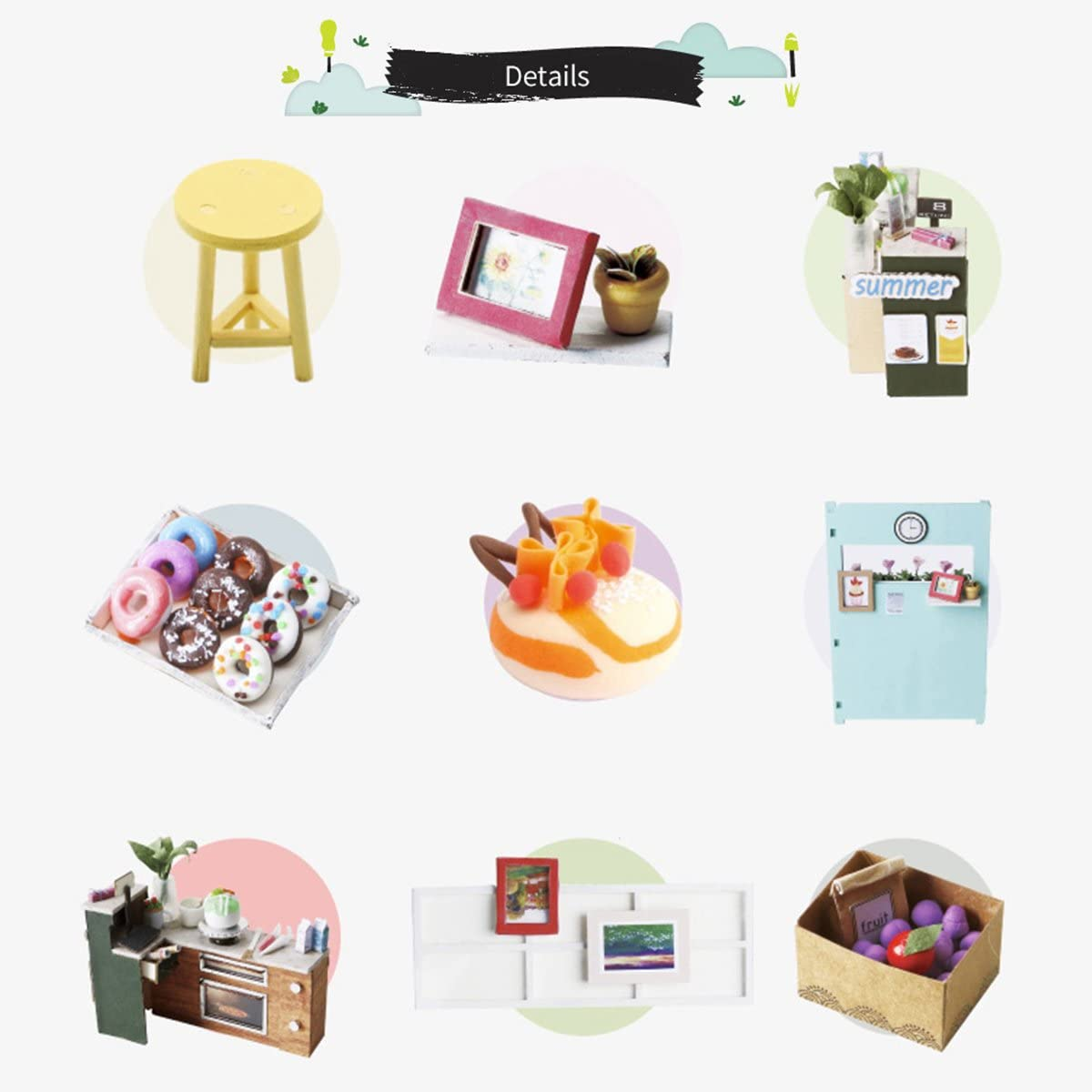 Mini House Kits with English Instructions Best Birthday Gifts for Boys /& Girls Creative Room Decorations Ice Cream Station ROBOTIME DIY Miniature Doll House with Accessories
