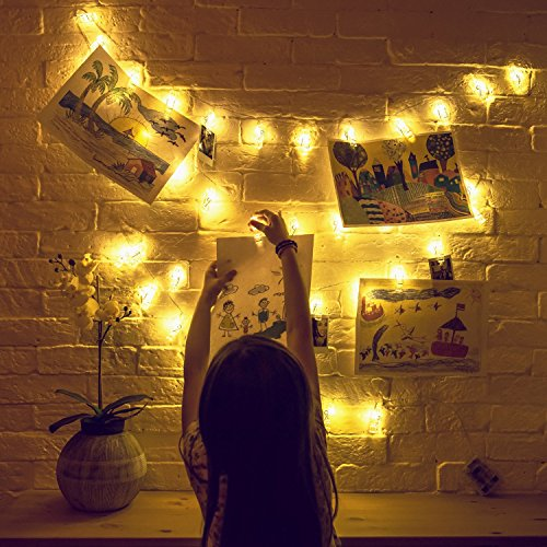 Mind-glowing 40 LED Photo Clip String Lights (16.4ft) with Remote Control - Battery Powered Picture Hanging Clothespins Lighted in Warm White - Bedroom Wall Decor, Fairy Lighting with Polaroid Holders