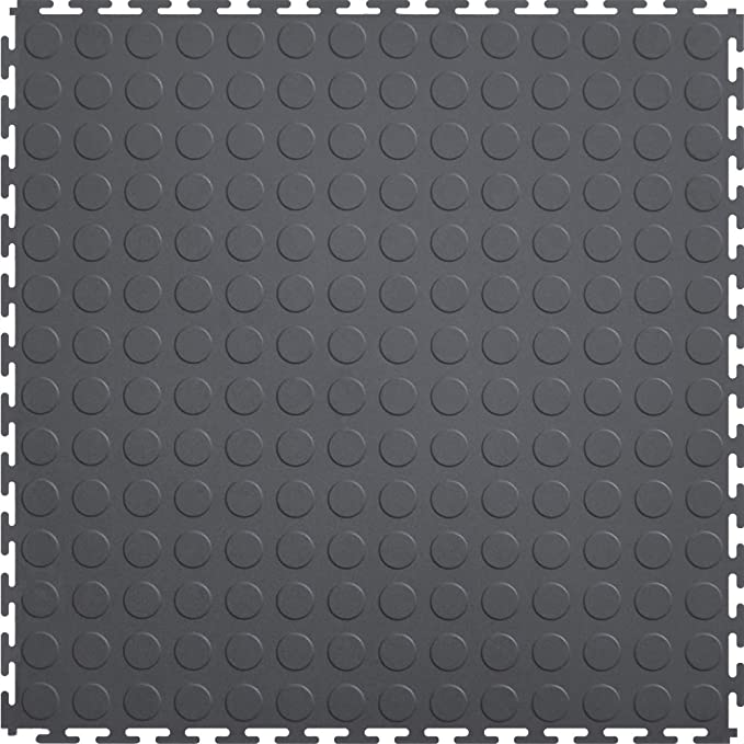 "❖ ITtile - Coin 20.5"" x 20.5"" Interlocking Vinyl Floor Tiles 【8 Pack】 (Dark Grey)"