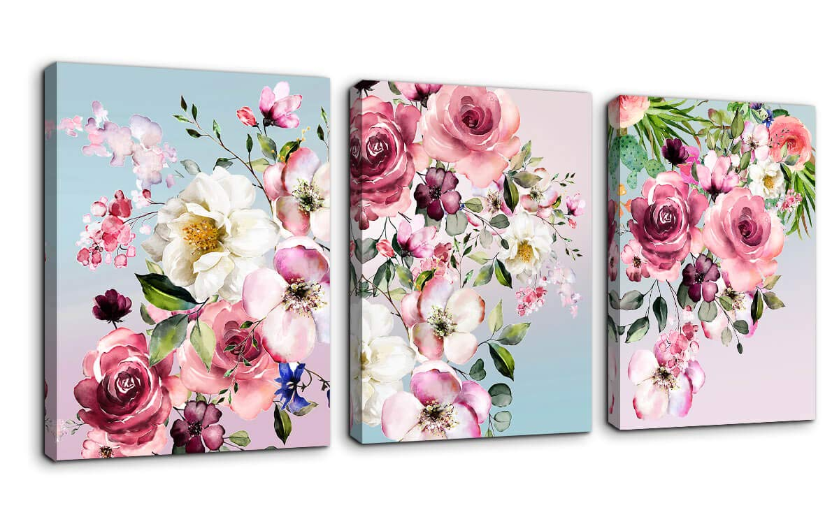 "Flower Canvas Wall Art for Bedroom Woman Wall Decor Pink White Flowers Picture 3 Piece Framed Artwork Modern Plant Floral Canvas Prints for Kitchen Home Bathroom Girls Room Wall Decoration 12""x16"""