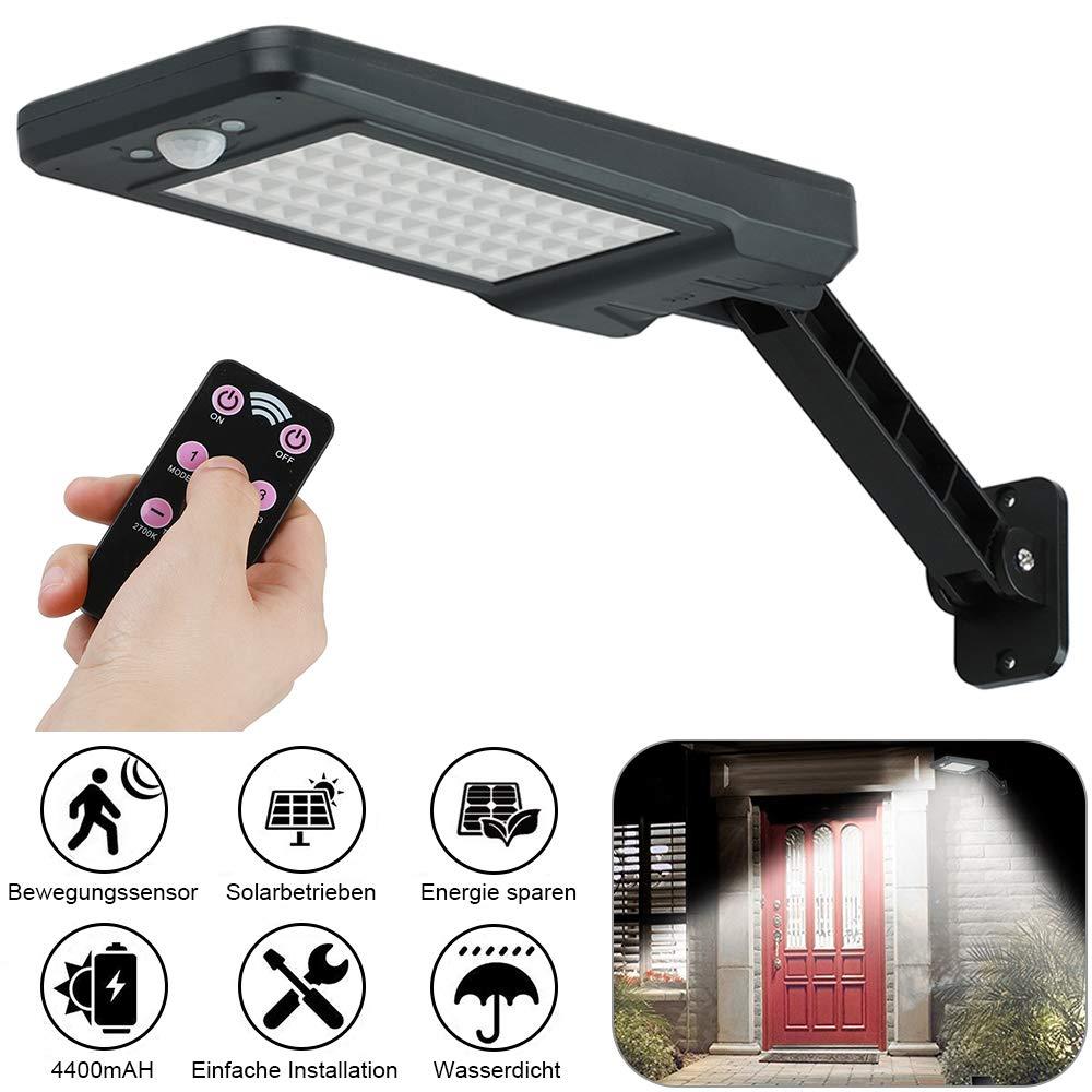 GEYUEYA Home Solar Lampe 60 LED Solar Wandleuchte Solarbewegungs-Sensor-Sicherheits-Lichter IP65 wasserdicht Wand-Lichter mit drehbaren installierten Stents Solarlampen f/ür au/ßen