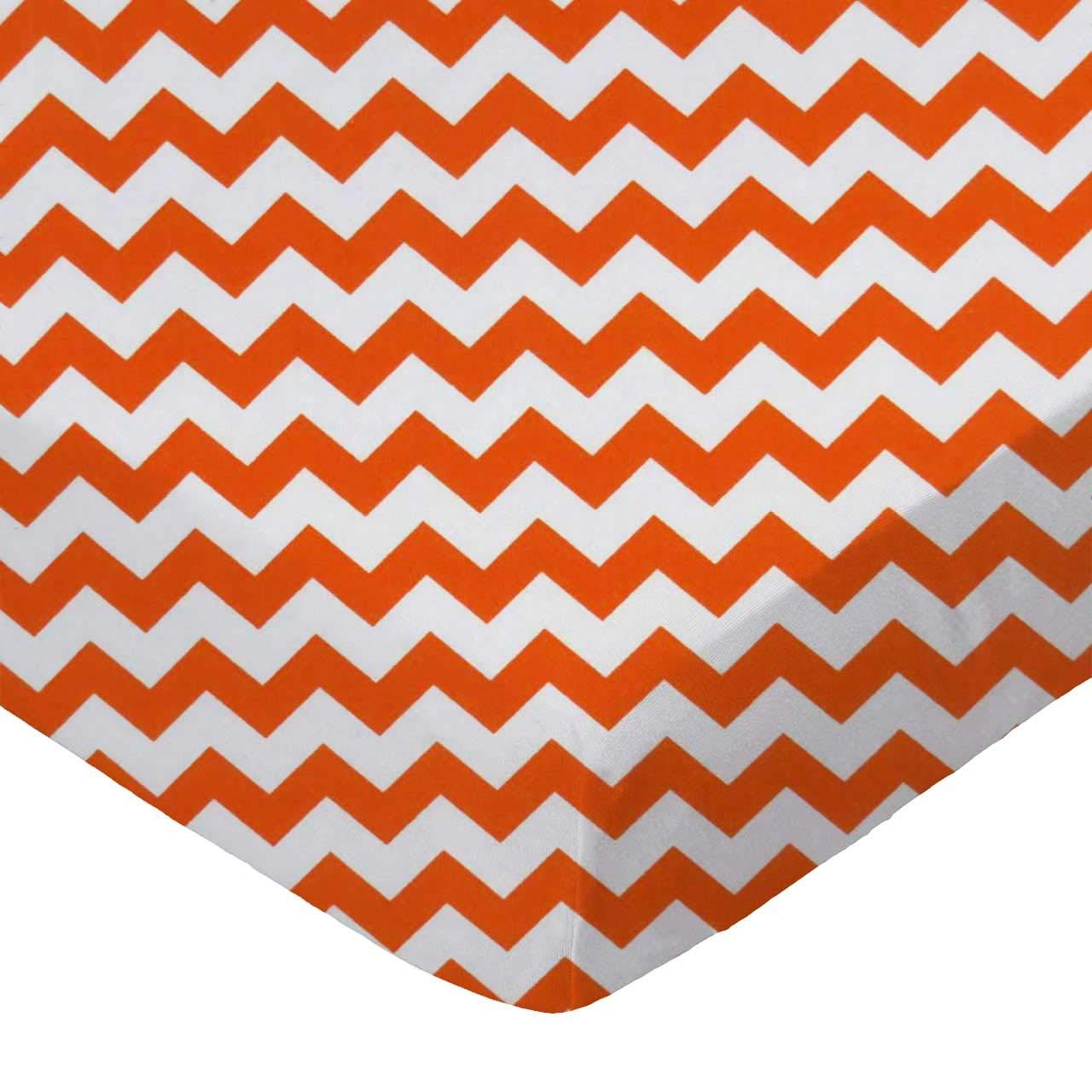 SheetWorld Fitted Crib / Toddler Sheet - Orange Chevron Zigzag - Made In USA by sheetworld   B00CF2TUMU