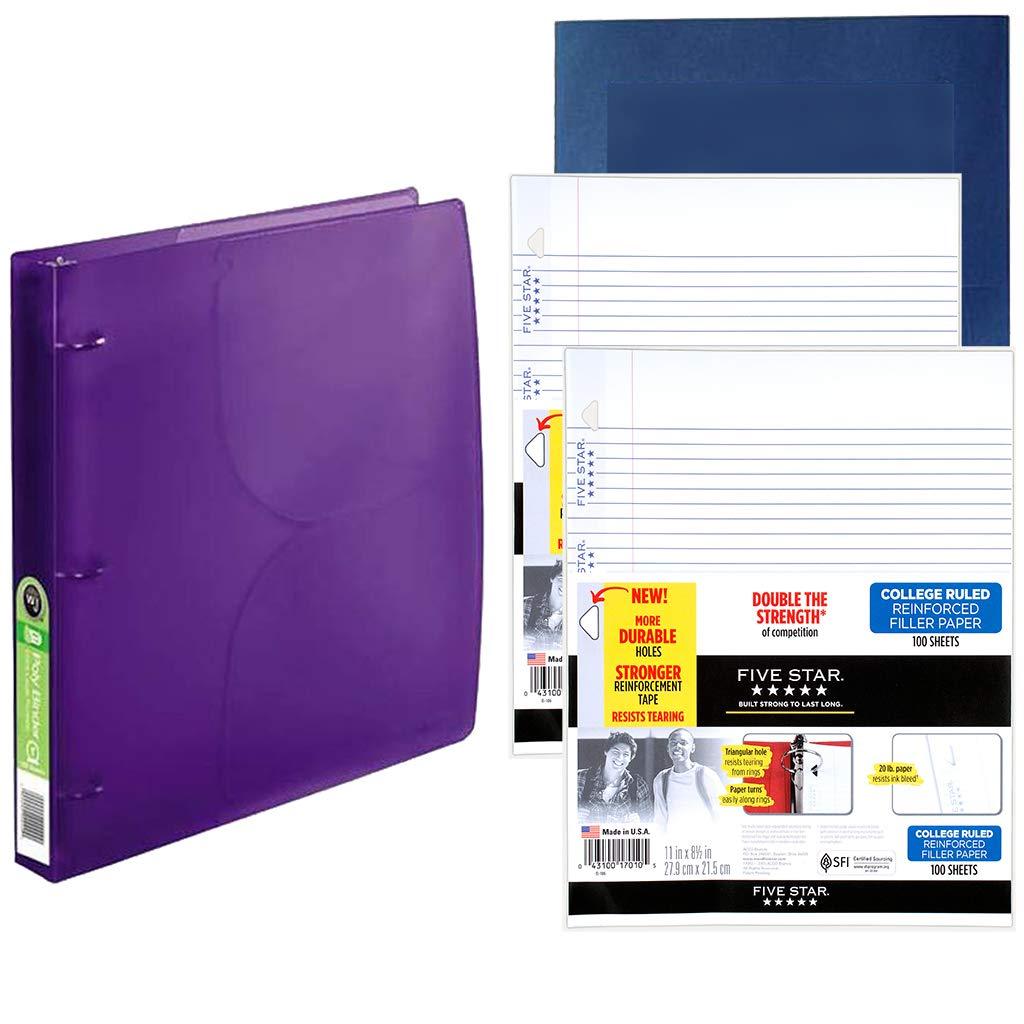 School Supplies Bundle-Reinforced College Rule Filler Paper Loose Leaf Paper- 2 PK, Modern See Thru 3 Ring Binder with 2 Pockets Bonus 2 Pocket Presentation Folder