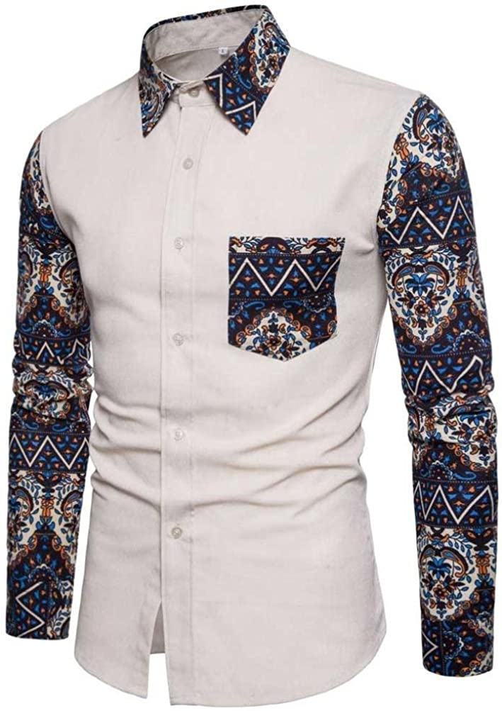Jmwss QD Mens Tops Slim Long Sleeve Print Pattern Button Front Shirts