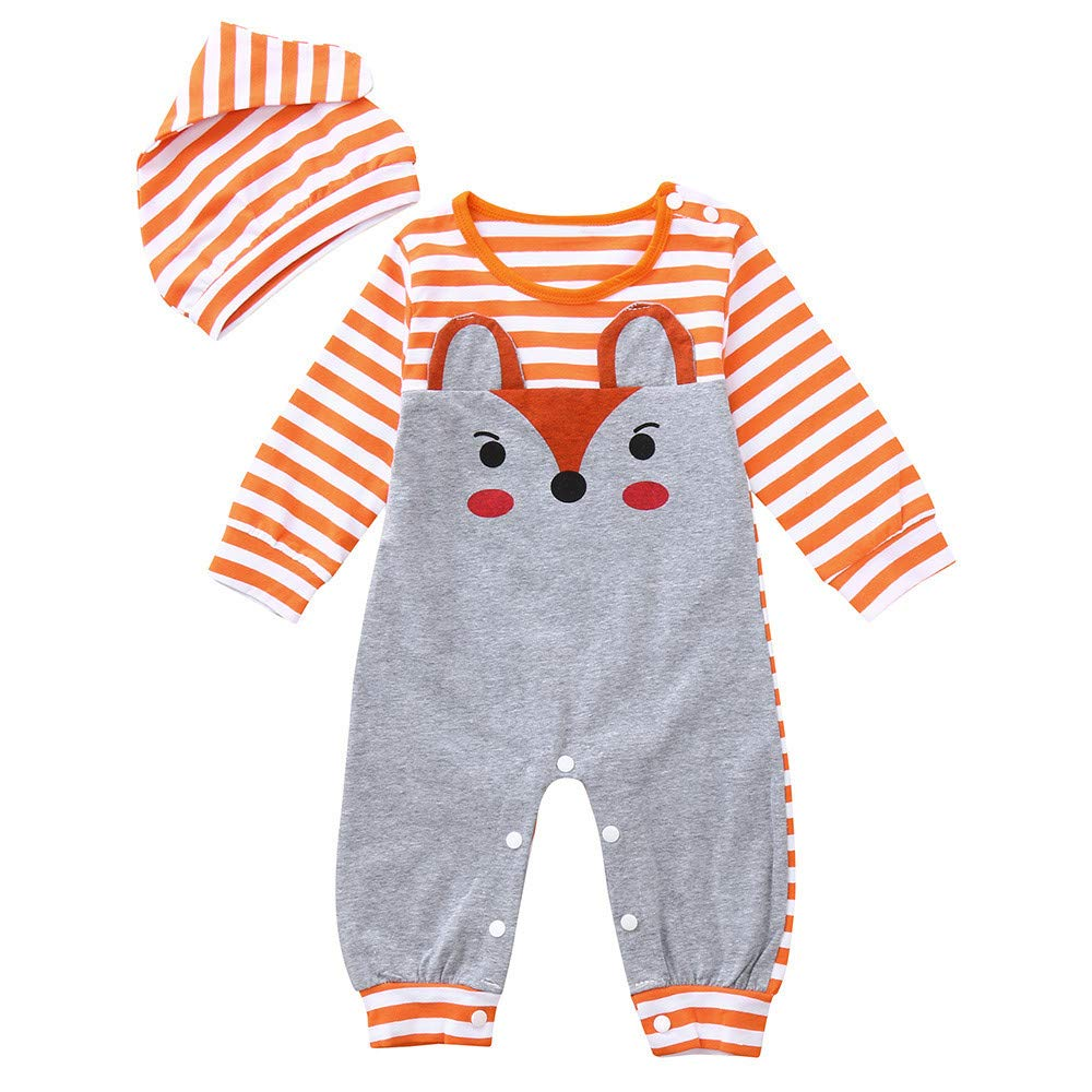 Oldeagle Infant Baby Girls Boys Long Sleeve Fox Print Stripe Romper Jumpsuit Stripe Hat 2PCs Baby Outfits (3-6M, Orange)