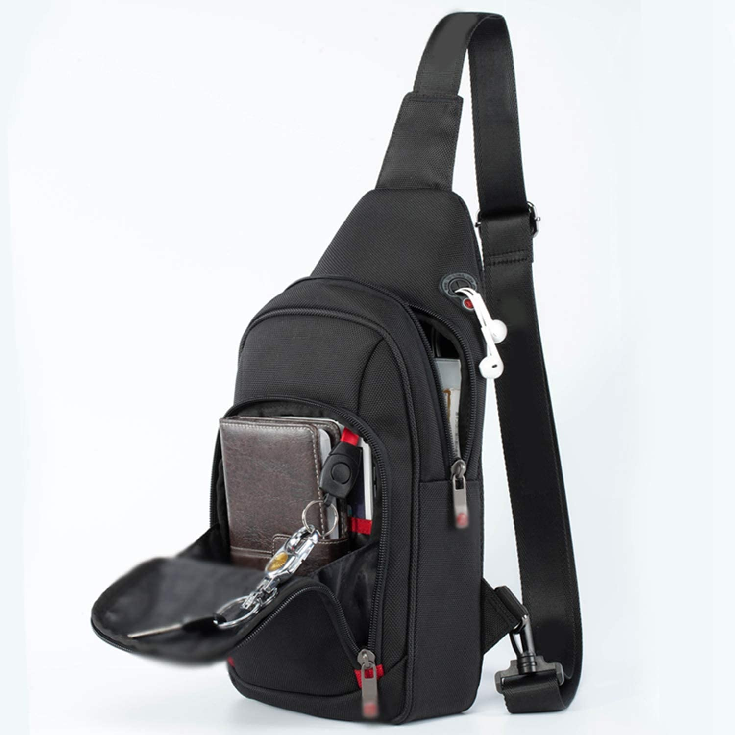 Crossbody Bags for Men Messenger Chest Bag Pack Casual Bag Waterproof Nylon Single Shoulder Strap Pack Fashion