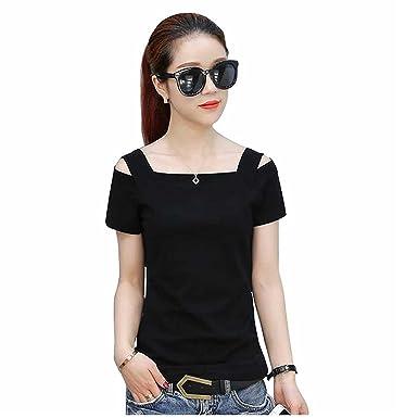 cd32381798 Harshita Creation HC Designer Square Neck Short Sleeve Off Shoulder T-Shirt  for Women Girls Party Wear Stylish Tops T-Shirt, Ladies Fancy Black T-Shirt,  ...