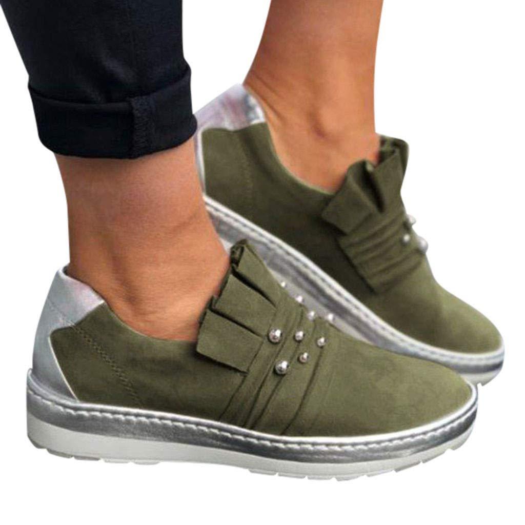 Malbaba Moda de la Mujer resbalón Casual en el aumento de Los Zapatos planos de diapositivas Zapatillas Deportivas Green by Malbaba