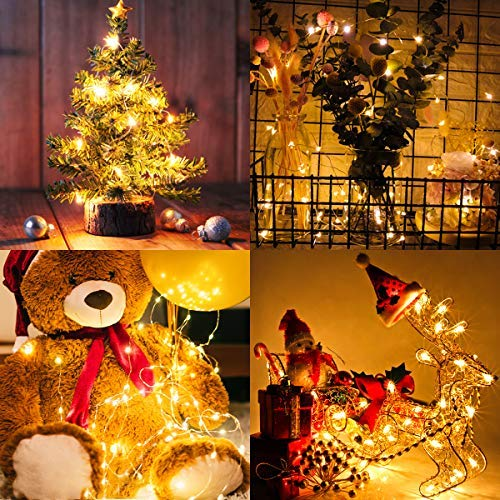 FYHD 2 Pack Battery Operated Fairy String Lights with Remote, Waterproof 8 Modes 75 LEDs 24.6ft Copper Wire Firefly Lights for Wedding Christmas Party Bedroom Indoor Outdoor Decor (Warm White)