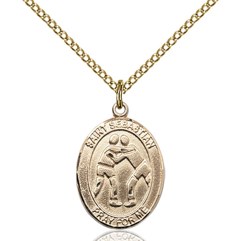 Custom Engraved Gold Filled St. Sebastian/Wrestling Pendant 3/4 x 1/2 inches with Gold-Filled Lite Curb Chain by Bonyak Jewelry