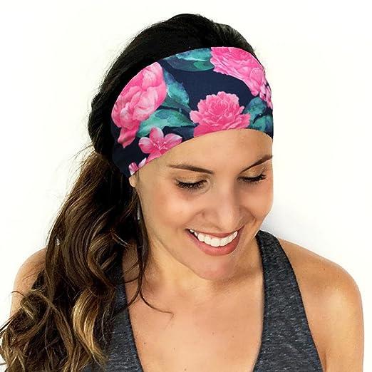 Owill Women Ladies Peony Print Sports Yoga Sweatband Gym Stretch Headband  Broadside Hair Band (Multicolour 140eaa19bb5