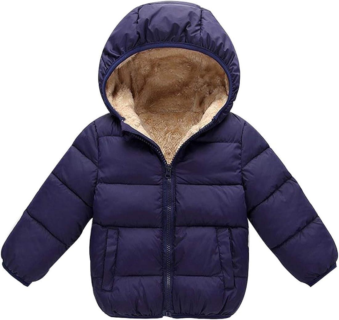 MODNTOGA Winter Fleece Coats for Kids with Hoods Light Puffer Jacket for Baby Boys Girls Infants Toddlers