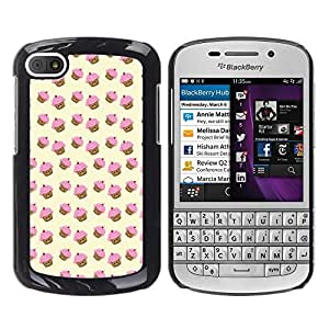 FlareStar Colour Printing Muffin Cupcake Yellow Pink Pattern Cute cáscara Funda Case Caso de plástico para BlackBerry Q10