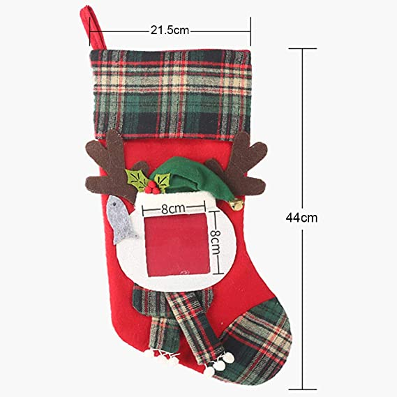 2Pcs Photo Frame Santa Socks Christmas Stockings Candy Gift Bags Hanging Decor