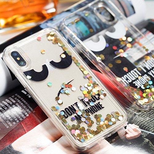 Funda iPhone X Anfire Carcasa iPhone X Glitter Silicona Líquido Arenas Movedizas Bling Estrellas TPU Case Transparente Flotante Lentejuela Cubierta Caja Sparkle Claro Cristal Protectora Caso Bumper Co Advertencia