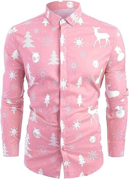 EnjoCho - Camisa de Navidad para hombre, de poliéster, informal, con diseño de copos de nieve, para hombre: Amazon.es: Oficina y papelería