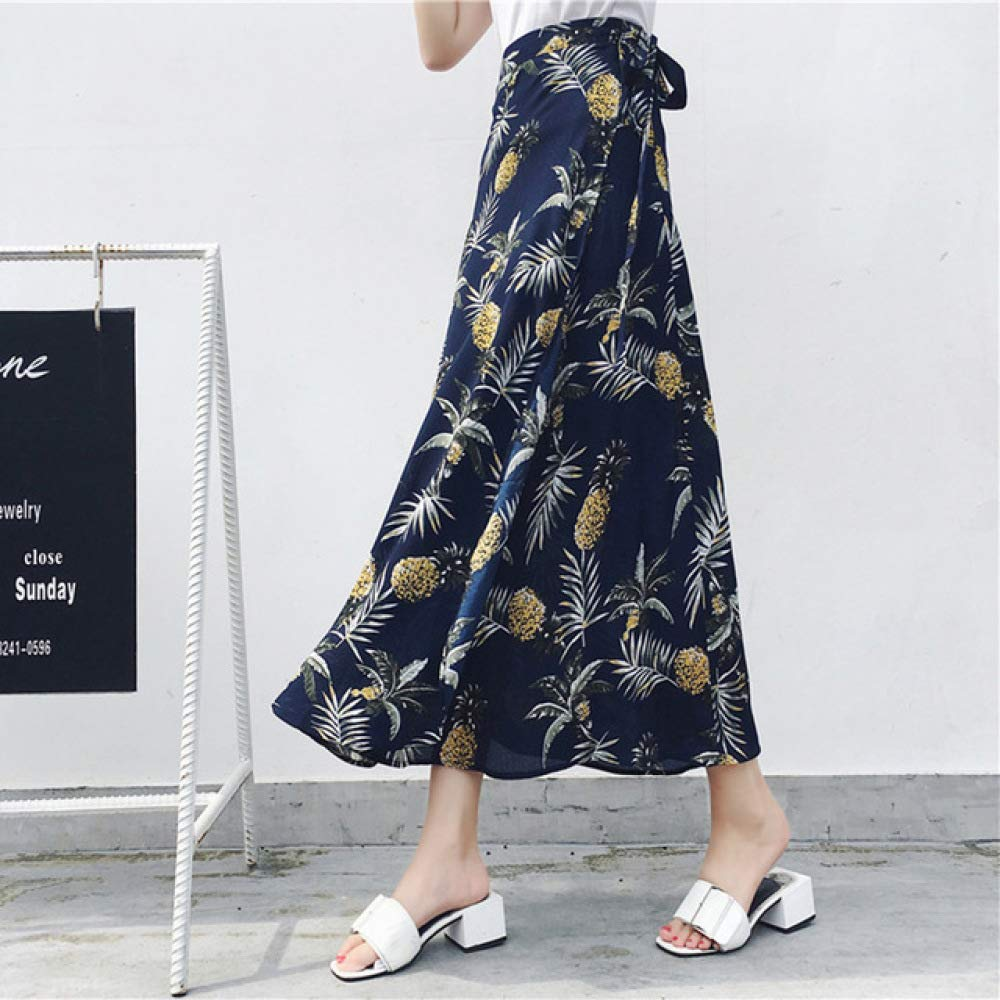 KLGDF Falda Faldas de Verano con Estampado Floral de Cintura Alta ...