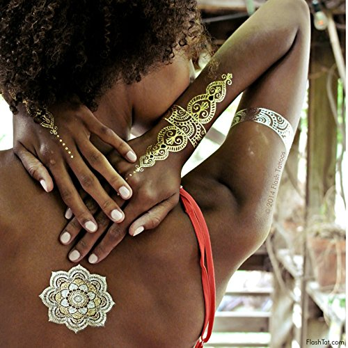 Flash Tattoos Sheebani Authentic Metallic Temporary Jewelry Tattoos 4 Sheet Pack (Black/gold/silver) Includes over 19 assorted premium henna inspired waterproof tattoos by Flash Tattoos