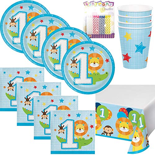 One is Fun ! Boys Birthday Theme 1st Party Supplies Pack (Serves-16) Dessert Plates, Beverage Napkins, Cups and Table Cover - First Zoo Party Supply Tableware Set Kit Includes Birthday Candles ()