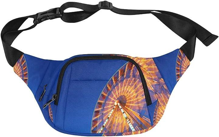 At Night Beautiful Ferris Wheel Fenny Packs Waist Bags Adjustable Belt Waterproof Nylon Travel Running Sport Vacation Party For Men Women Boys Girls Kids