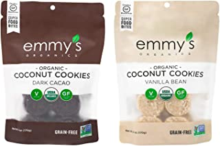 product image for Emmy's Organics Coconut Cookies, Dark Cacao & Vanilla Bean (Variety Pack), 6 oz (Pack of 2) | Gluten-Free Organic Cookies, Vegan, Paleo-Friendly