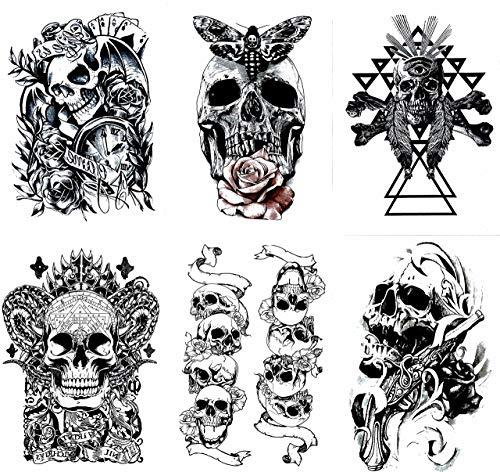 - Gilded Girl Skull & Skeleton Pirate Tattoos (Set of 6) Body Art for Men & Women Waterproof Large Arm Temporary Tattoo