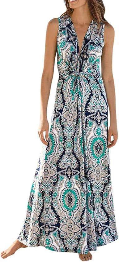 Litetao Womens Summer Sleeveless Floral Print Swing Dress Summer Casual Boho Tassel Drawstring Beach Sundress