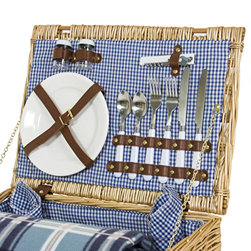 Best Choice Products 2 Person Wicker Picnic Basket w/Cutlery, Plates, 2 Wine Glasses, Tableware, Fleece Blanket - Brown by Best Choice Products (Image #3)