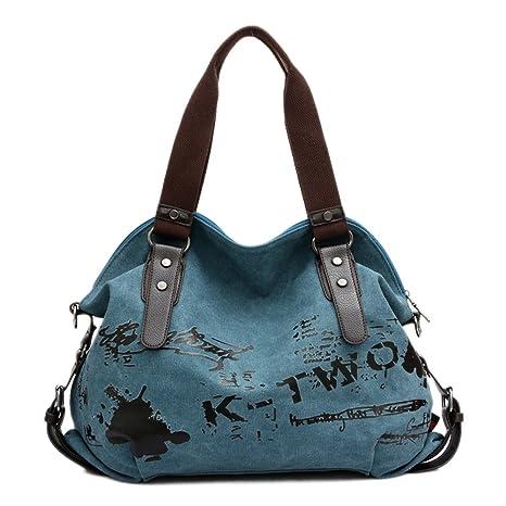 Alliswell Bolso de Lona Mujeres de Hombro Bolsas Impreso Letra Hobo Bolso Bandolera (azul)