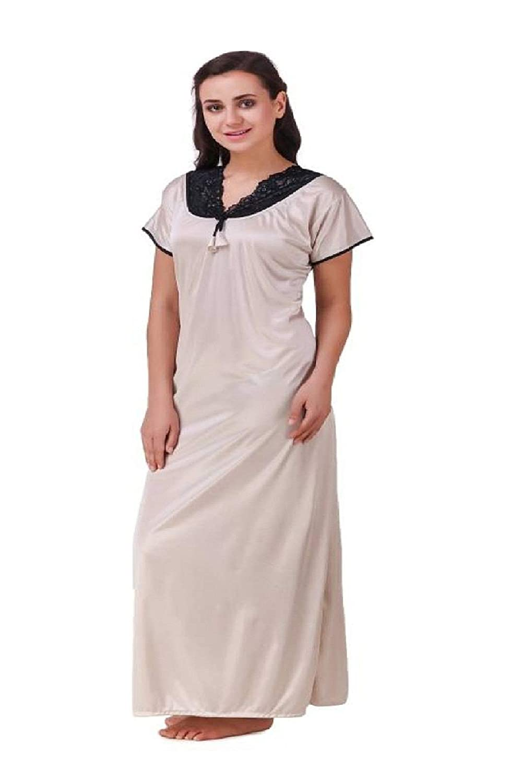 Diljeet® Women Girls Beautiful Satin Self-Designed with Black Lace Off-White  Nighty Night Gown Night Dress Nightwear (Free Size Large Extra Large Medium)   ... ce6e3372b