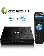 Android 8.1 TV BOX, T9 Android Box 4GB RAM 32GB ROM RK3328 Bluetooth 4.1 Quad Core 64bits Smart TV BOX, Built-in 2.4G Wi-Fi, HDMI Output, 4K 3D Ultra HD TV Box
