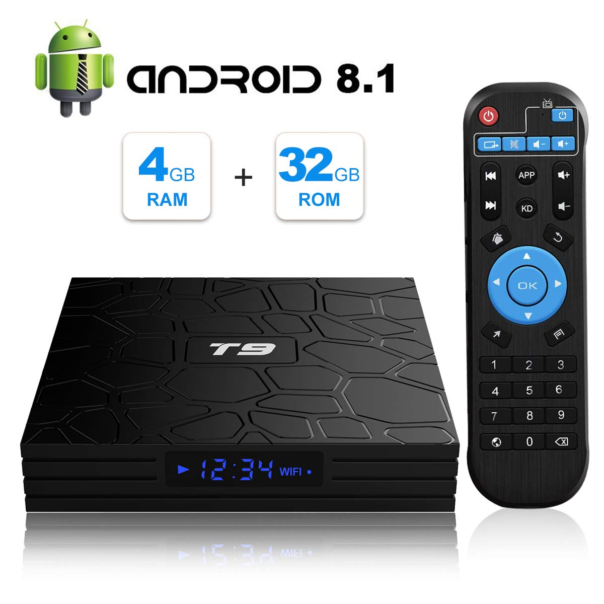 T9 Android 8.1 TV Box 4GB DDR3 RAM 32GB ROM RK3328 Bluetooth 4.1 Quad-Core Cortex-A53 64 Bits Support 2.4GHz WiFi 4K 3D Ultra HD HDMI H.265 by EVER EXPRESS