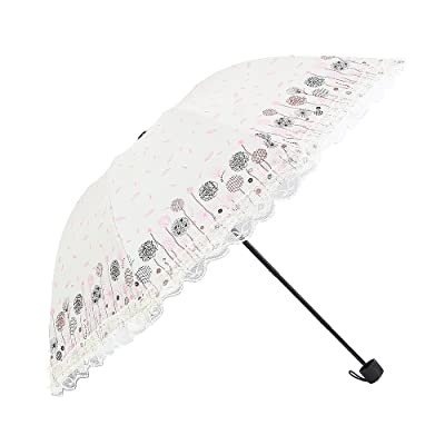 Honeystore Lace Trim Ruffled Umbrellas Printed Flower Sun Parasol UV Protection