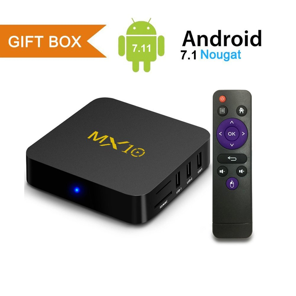 Android TV Box, MX10 Android 7.1 TV Box with RK3328 Quad Core 4GB DDR4 RAM 32GB ROM Smart TV Box Support 2.4GHz WIFI/100M LAN/3D Movies/4K Solution