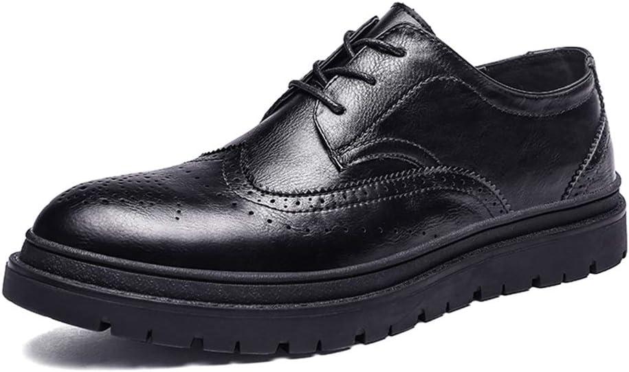 HONG YI-SHOES Zapatos de Vestir de los Hombres Zapatos Oxford de Hombre for Zapatos Brogue Estilo de Cordones Cuero de Microfibra Punta Redonda clásica grabada Zapatos Oxford duraderos