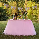 TUTU Table Skirt Tulle Tableware Queen Wonderland, Marry Acting Table Cloth Skirting for Christmas Wedding Party Baby Shower Birthday Cake Table Girl Princess Decor (Pink)