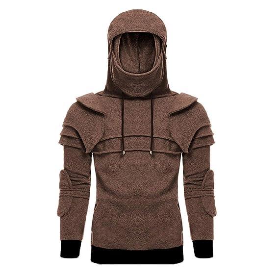 Amazon.com: Gallity Mens Retro Demountable Mask Cosplay Costumes Sweatshirt Duncan Armored Knight Hoodie Jacket (L, Red): Garden & Outdoor