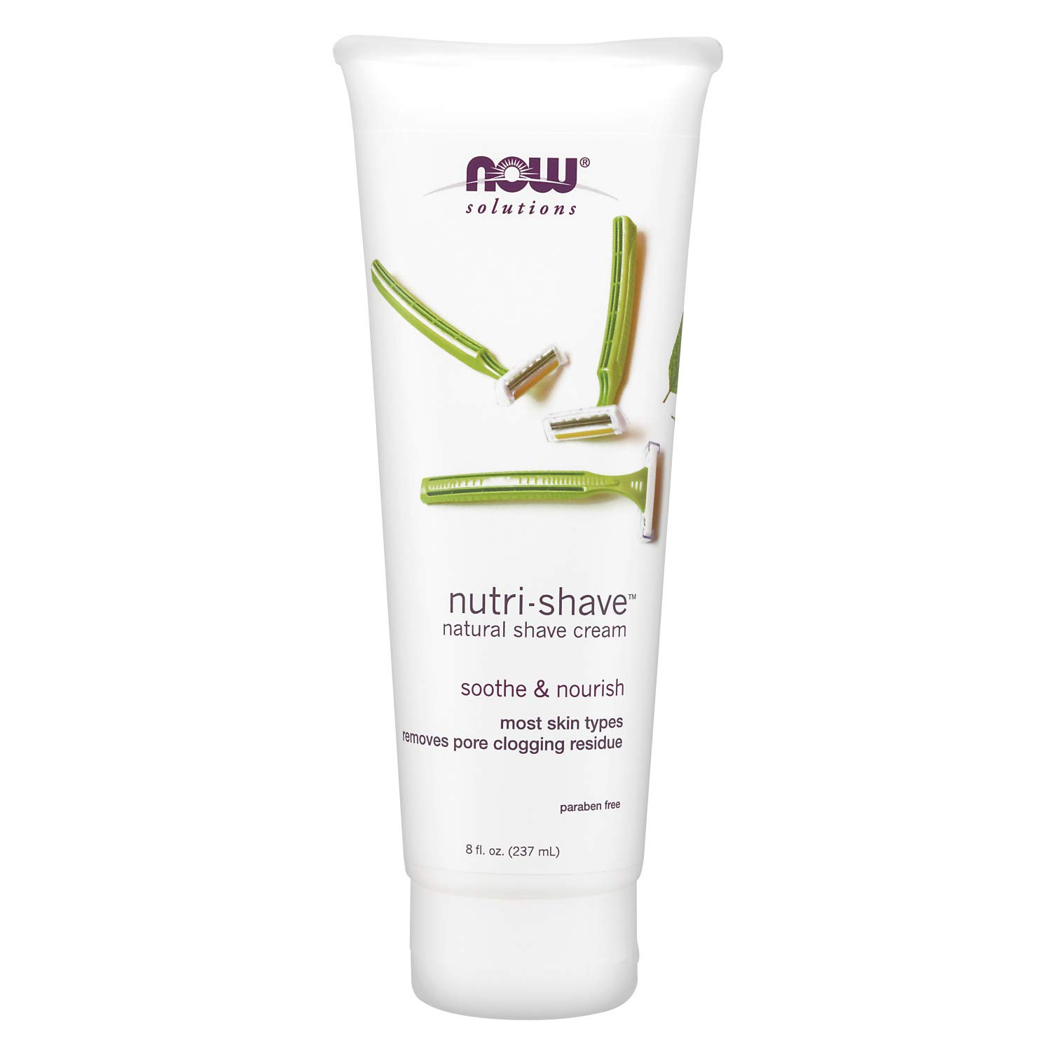 Now Solutions, Nutri-Shave, Natural Shave Cream, Removes Pore Clogging Residue, 8-Ounce