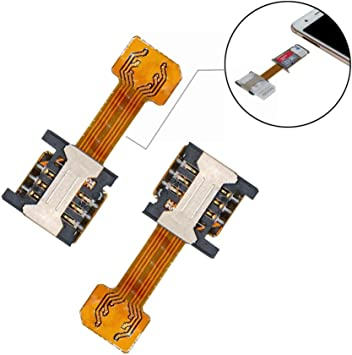 GVKVGIH Dual SIM Adapter (2 Pcs) for Samsung S7 / S7 Edge / S8 / S8+ Huawei Mate7/8/9 Xiaomi Lenovo,Ultra-Slim 2-in-1 Gold Extender for Android ...