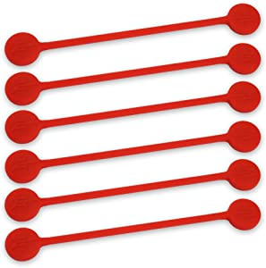 TwistieMag Strong Magnetic Twist Ties - The Lady in Red Collection - Cherry Red 6 Pack - Super Powerful Unique Solution for Cable Management, Hanging & Holding Stuff, Fidgeting, Or Just for Fun!