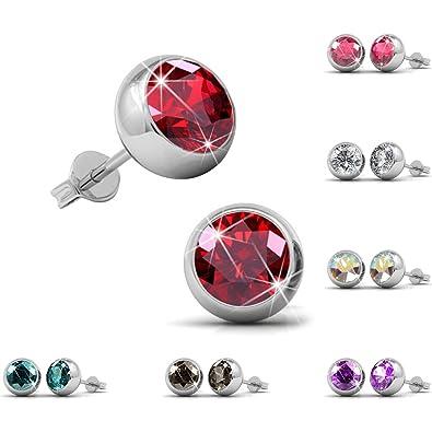f255f311ab4 FunkyTop Womens Swarovski Elements Crystal Stud Earrings Set of 7 Pairs 18K  White Gold Plated Earrings (Sw-bezel setting)  Amazon.co.uk  Jewellery