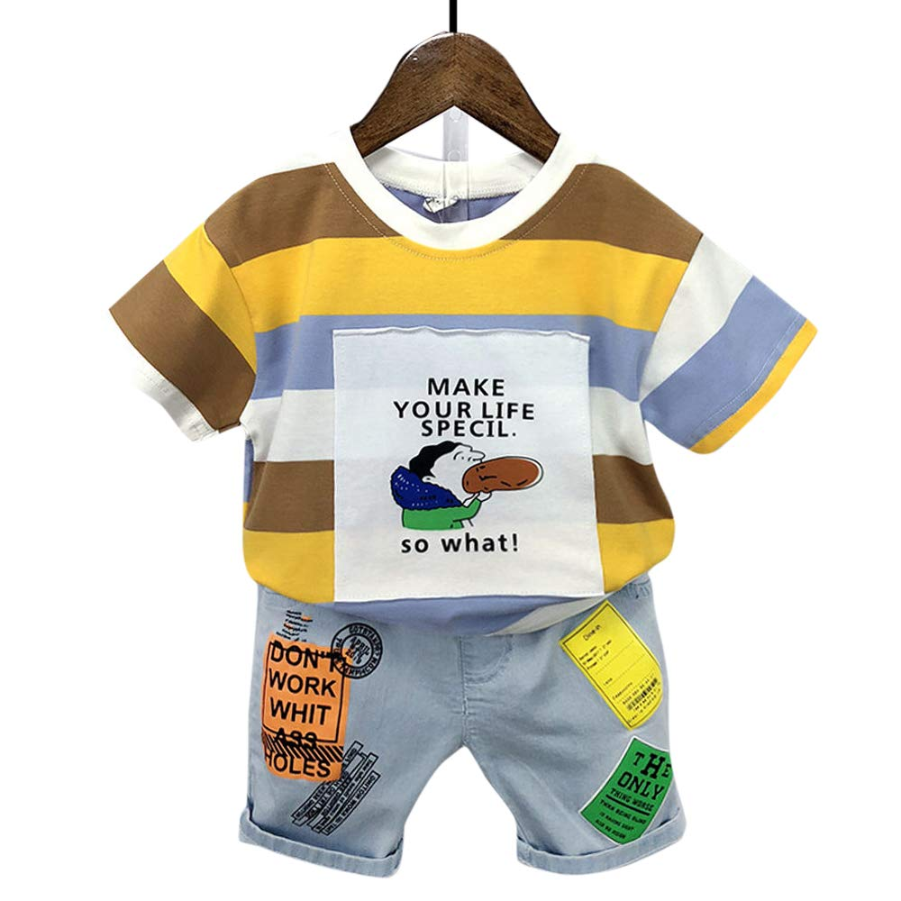 Hopscotch Baby Boys Cotton and Spandex Half Sleeves Applique Text Printed T-Shirt and Shorts Set