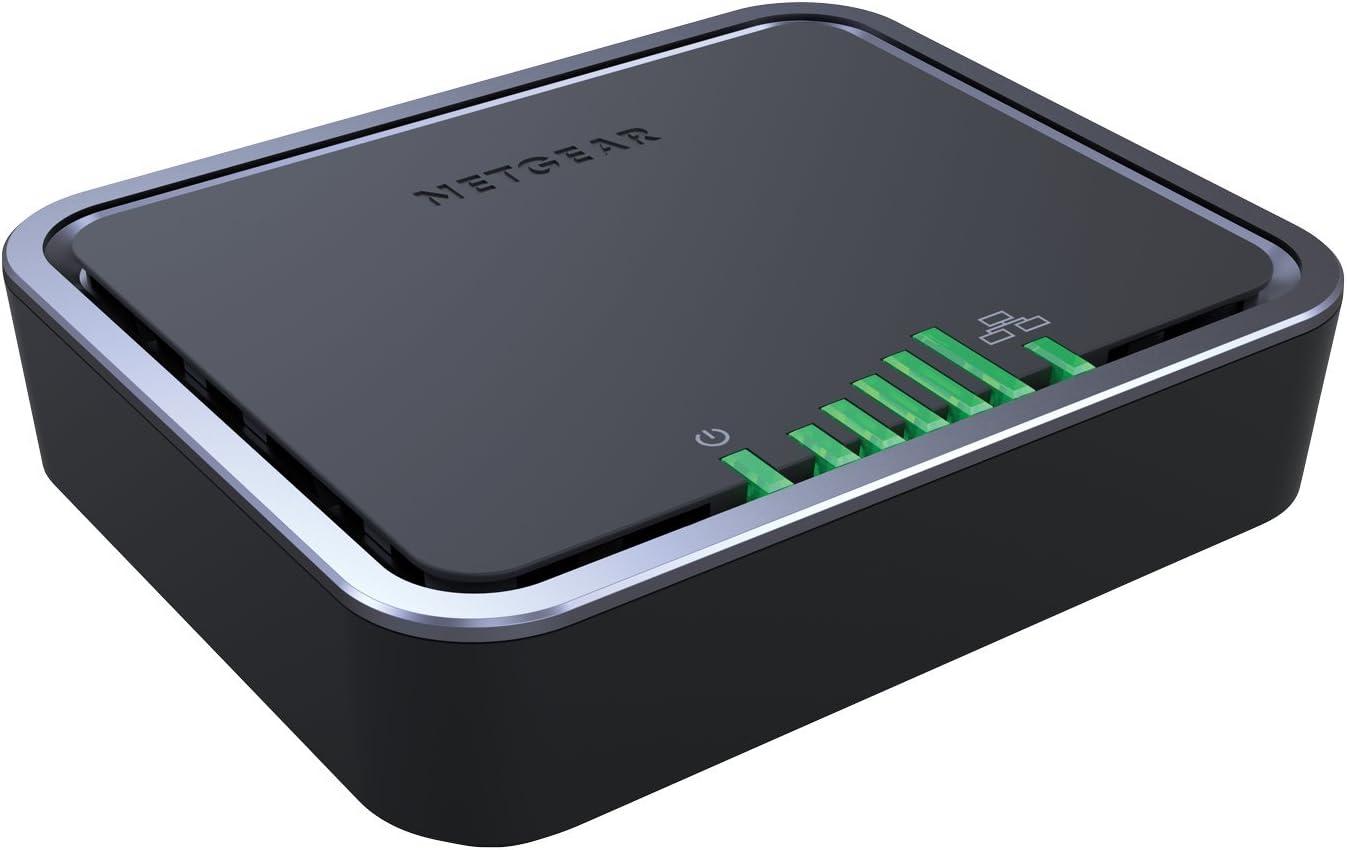 Netgear LB2120-100EUS - Módem móvil de Banda Ancha (4G LTE con 2 Puertos, hasta 150 Mbps de Descarga, WAN Gigabit, WiFi) Negro