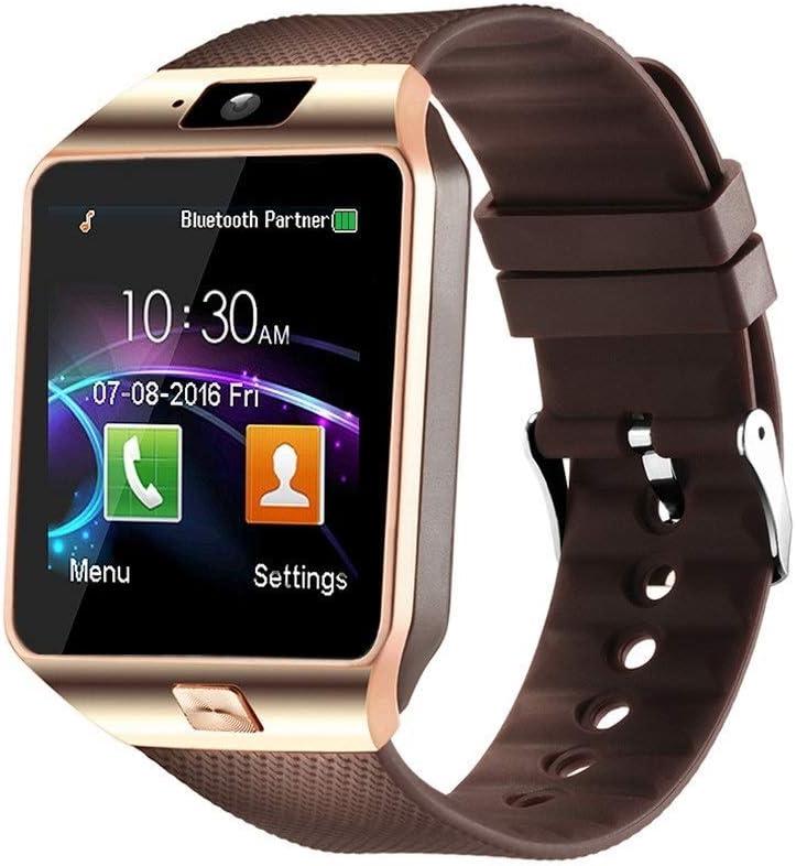 Aeifond Smart Watch DZ09 Bluetooth Smartwatch Touch Screen Wrist Watch Sports Fitness Tracker with Camera SIM SD Card Slot Pedometer Compatible iPhone iOS Samsung LG Android Kids Men Women (Gold)