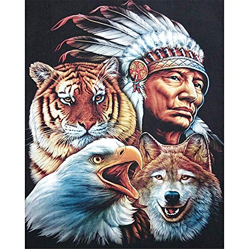 Paint by Number Kits - Native American and Tiger Wolf Eagle 16x20 Inch Linen Canvas Paintworks - Digital Oil Painting Canvas Kits for Adults Children Kids Decorations Gifts (No Frame)
