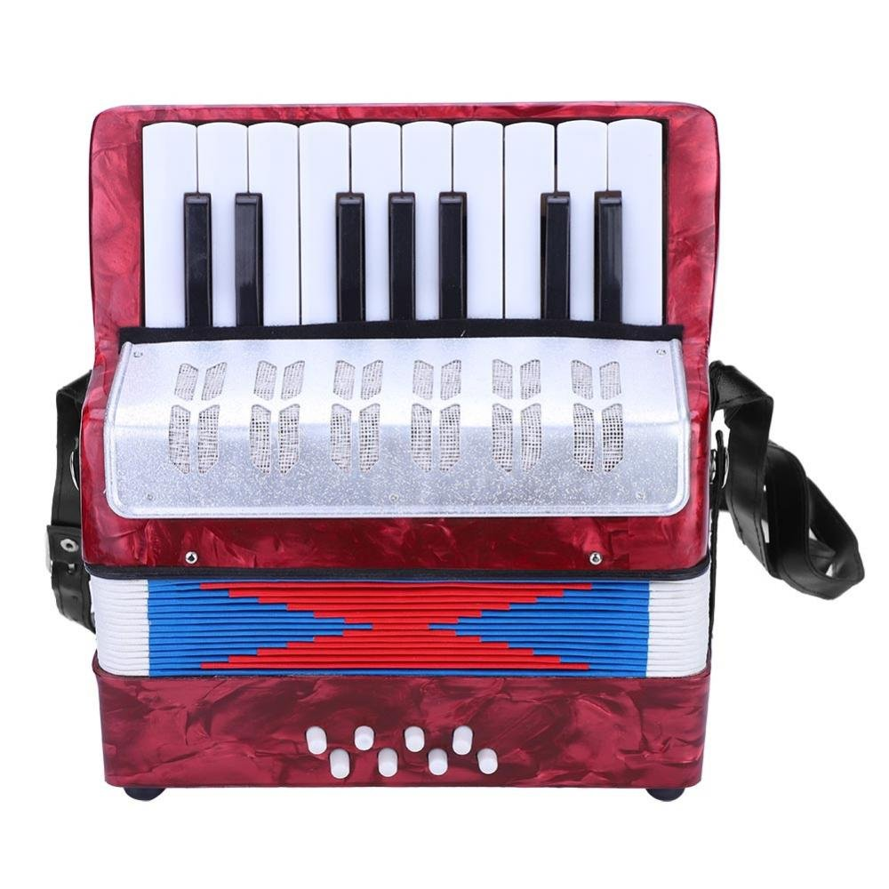 Accordion, Mini Small 17-Key 8 Bass Accordion Educational Musical Instrument Toy for Beginner Early Childhood Teaching(Red) by Dilwe