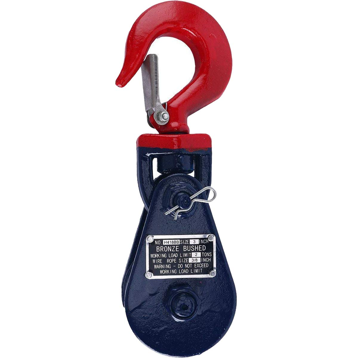FreeTec Wire Rope Pulley Block 2 Ton Snatch Block with Swivel Hook and Latch freebirdtrading