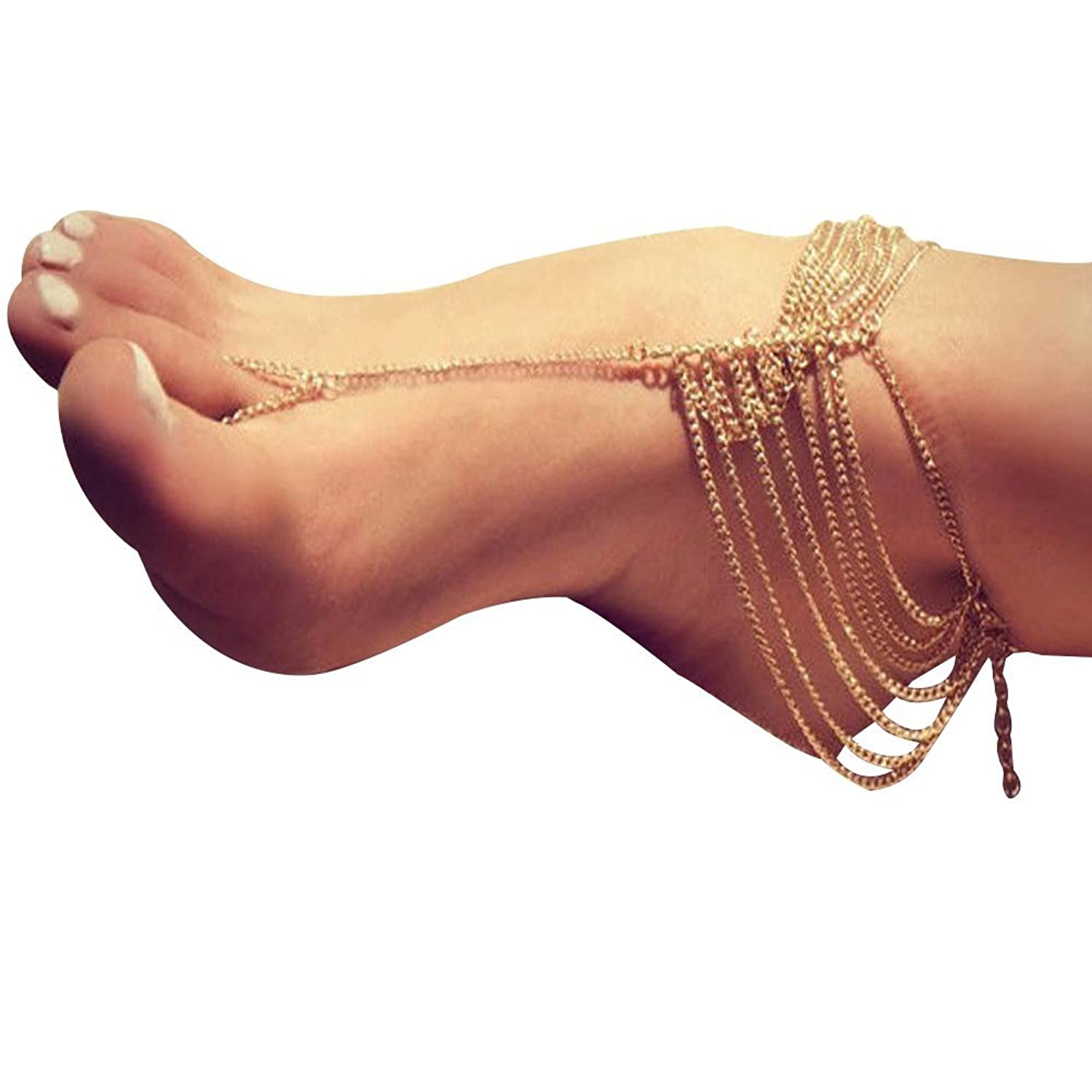 Buy 19 Likes Party Beach Wear Golden Metal Alloy Anklet Payal for ...